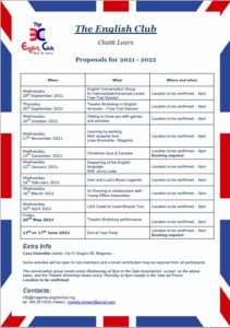 Proposal for 2021 - 2022 activities